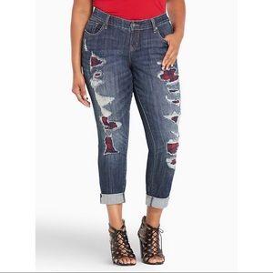Torrid Premium Boyfriend Jeans Plaid Distressed